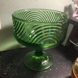 vintage art deco green glass compote by E.O. Brody in Byron, Georgia