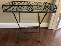Southern Living at Home Linden House Wrought Iron Folding Table with Glass Top in Kingwood, Texas