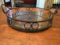 Southern Living at Home Jamestown Estate Round Iron Tray with Glass Insert in The Woodlands, Texas