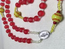 Rosary Softball Yellow Balls Red Beads Frost Glass Custom Necklace Italian Silver Medal Crucifix in Kingwood, Texas
