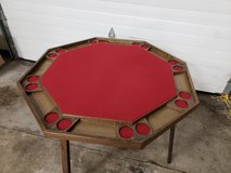 Mid-Century 8 Station Folding Poker Table,Tabletop Cover in Chicago, Illinois