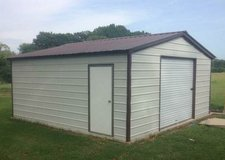 "18' x 20' x 8' Vertical Roof Garage with 9' x 8' RU Door and 36"" x 80"" Entry Door in Denton, Texas"