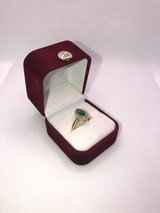 14k yellow gold ring Marquise cut natural emerald w/ NINETEEN halo'd diamonds in Beaufort, South Carolina