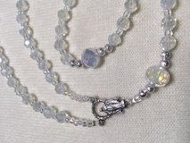 Rosary First Communion Girls Moonstone and Filigree Silver Beads Italian Silver Medal Crucifix D... in Kingwood, Texas