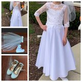 First Communion Dress, Shoes, Veil in Joliet, Illinois
