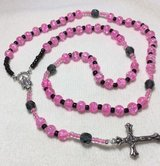 Rosary Pink Black Czech Crystal Beads Italian Silver Medal Crucifix Small Size Dainty in Houston, Texas