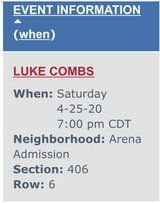 4-Tickets to Luke Combs Toyota Center in Kingwood, Texas