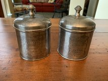 Vintage silver coffee and sugar containers in Kingwood, Texas