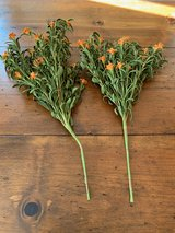 2 greenery stems with orange flowers in Kingwood, Texas