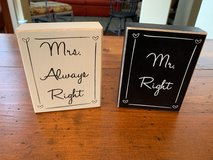 Mr. and Mrs. Black and White Wood Blocks in Kingwood, Texas