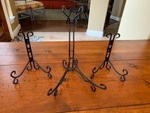 Set of 3 black metal plate holders in Kingwood, Texas