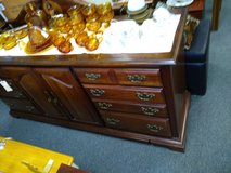Dark Wood Long Dresser with Mirror in Naperville, Illinois