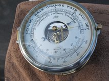 VINTAGE BRASS SCHATZ SHIPS BAROMETER AND THERMOMETER in Cherry Point, North Carolina