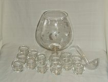 Brandy Snifter Wine Glass Punch Bowl Set / Etched Flowers ~ Impressive in Naperville, Illinois