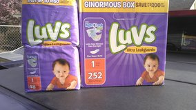 Huge unopened box an new pack of diapers in Byron, Georgia