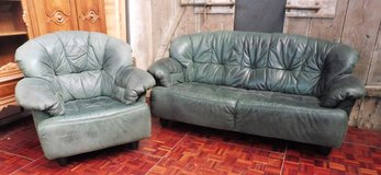 3 Seater Green Couch and a Lounge Chair in Ramstein, Germany