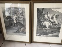 2 x beautiful German  framed horseman pictures in Wiesbaden, GE