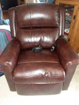 Almost new brown leather power lift recliner in Batavia, Illinois