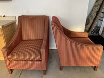 Red and Gold Striped Fabric Living Room Chairs in Chicago, Illinois