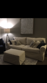 Off White Slipcover Couch and Ottoman. in Tinley Park, Illinois