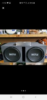 Hiphonics Brutus 15 inch subwoofers w/box and Boss Amp in Alamogordo, New Mexico