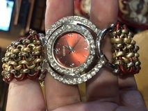 Metal and leather watch with bling. in DeRidder, Louisiana