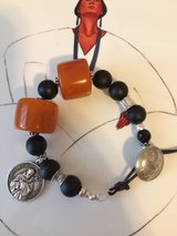 NEW - BALTIC AMBER AND ONYX BEADS/ST.FRANCIS OF ASSISI CHARM BOHO STYLE BRACELET in Yorkville, Illinois