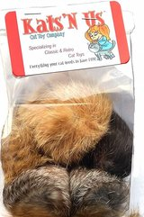 Cat Toys: Jumbo size rabbit fur pom poms (5 pack) - BRAND NEW! in Bartlett, Illinois