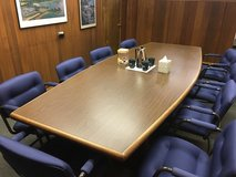 10' Conference Room Table w/ 10 Upholstered Chairs, Excellent Condition in Glendale Heights, Illinois
