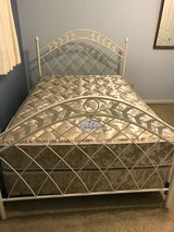 Metal White Bed frame/ Full (head and foot board) in Travis AFB, California