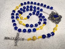 Golden State Warriors Rosary Blue and Yellow Faceted Czech Beads with Official Charm for Middle ... in Kingwood, Texas