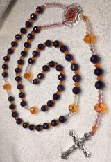 Rosary Phoenix Suns Royal Purple and Orange Czech Crystal Beads with Official Pendant Cusrom in Kingwood, Texas