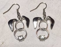 Bunny Earrings Silver with Rhinestone Accent Perfect for Easter in Houston, Texas