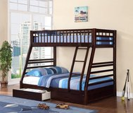 NEW TWIN FULL BUNK BED WITH MATTRESS AND STORAGE DRAWERS in 29 Palms, California