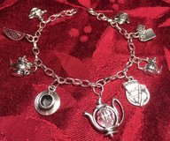 Charm Bracelet Tea Items Nine Charms Stainless Chain Adjustable Custom in Kingwood, Texas