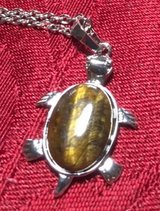 Turtle Tiger Eye Pendant on Stainless Chain Large Tiger Eye Stone in Kingwood, Texas