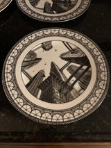 """4 New """"Metropolis"""" Art Deco Dinner Plates by Slice of Life 222 Fifth in Aurora, Illinois"""