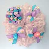 """20"""" Pastel Pink, Lavender, Blue Easter Wreath with Bow and Eggs in Camp Lejeune, North Carolina"""