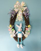 """30"""" x 18"""" Grapevine Easter Wreath with Plush Rabbit, Eggs, Bow & Flowers in Camp Lejeune, North Carolina"""