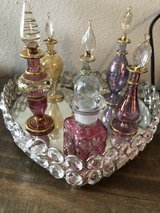 6 glass perfume bottles and crystal tray in Tacoma, Washington