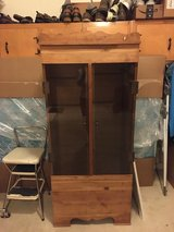 Solid cedar cabinet/glass doors/3 glass shelves inside in Fort Belvoir, Virginia
