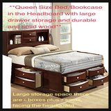**Goplus Queen Size Bed Storage Bed and Drawers and Bookcase in the Headboard with large drawer ... in Okinawa, Japan