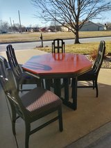 Vintage table and chairs with leaf. in Fort Riley, Kansas