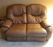 Leather reclining love seat in Plainfield, Illinois