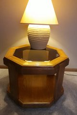 Wood and table with glass insert in Plainfield, Illinois
