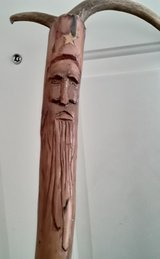 Hand carved wooden walking staff in Alamogordo, New Mexico