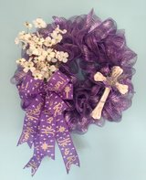 Easter Wreath Honoring the Resurrection in Purple with\ Dogwoods and Cross in Camp Lejeune, North Carolina