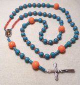 Rosary Turquoise Orange Coral Our Lade of Guadalupe Medal Full Color Italian Silver Crucifix Nec... in Kingwood, Texas