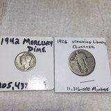 1926 silver standing liberty quarter and 1942 silver dime in Beaufort, South Carolina