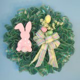 """24"""" Easter Wreath Green Mesh with Pink & Blue Foil, Bunny & Eggs in Camp Lejeune, North Carolina"""
